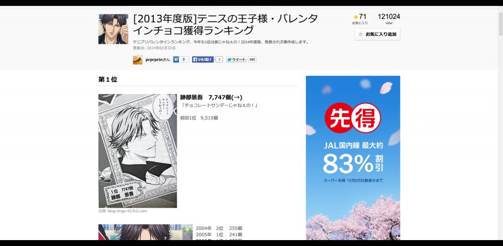 [2013年度版 テニスの王子様・バレンタインチョコ獲得ランキング - NAVER まとめ