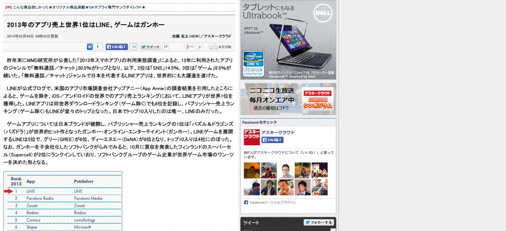 ASCII.jp:2013年のアプリ売上世界1位はLINE、ゲームはガンホー